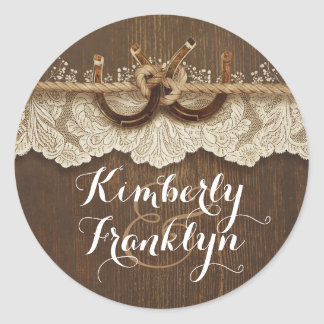 Rustic Lace Horseshoes Country Brown Wedding Classic Round Sticker