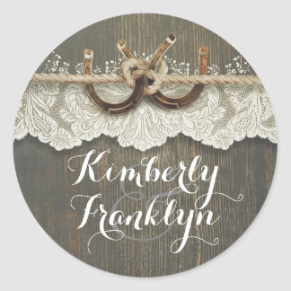 Rustic Lace Horseshoes Country Wedding Classic Round Sticker