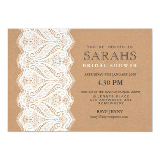 "Rustic Lace & Kraft Bridal Shower Party Invite 5"" X 7"" Invitation Card"