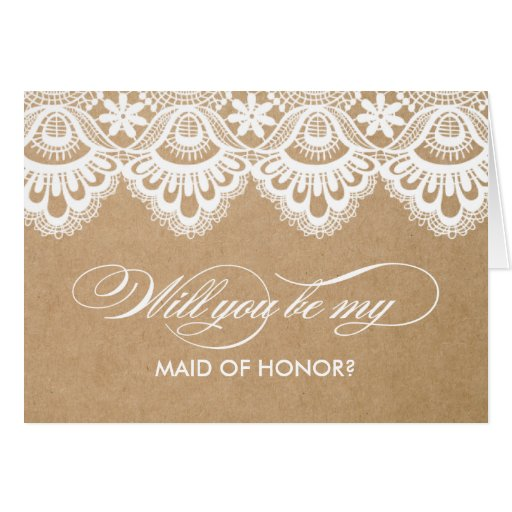 RUSTIC LACE | MAID OF HONOR CARDS