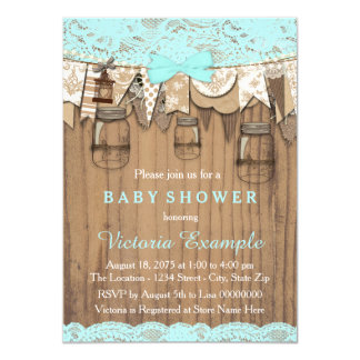 Rustic Lace Mason Jar Baby Shower Card