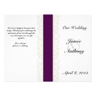 Rustic Lace & Plum Ribbon Wedding Program