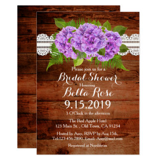 Rustic Lace Purple Hydrangea Bridal Shower Invites