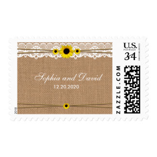 Rustic Lace, Sun Flowers, Burlap Wedding Stamp