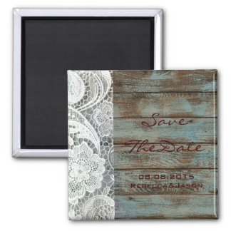 rustic lace teal barn wood wedding save the date 2 inch square magnet