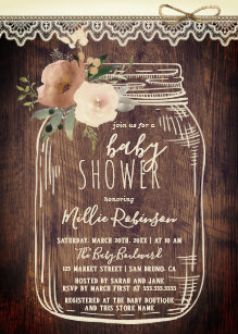 Mason Jar Baby Shower Invitations Zazzle