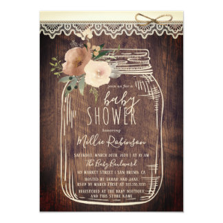 Rustic Lace & Twine | Floral Mason Jar Baby Shower Invitation