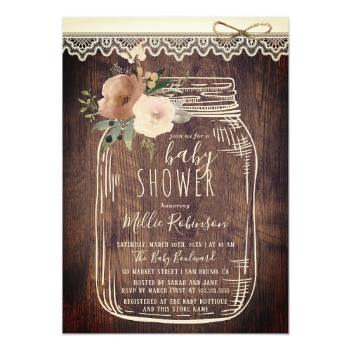 Rustic Lace  Twine  Floral Mason Jar Baby Shower Invitation