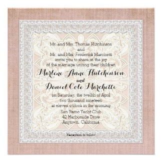 Rustic Lace w Aged Vintage Linen Country Elegance Invite