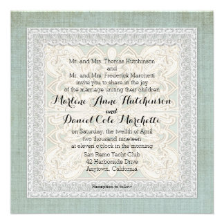 Rustic Lace w Aged Vintage Linen Country Elegance Custom Invitations