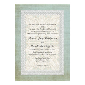 Rustic Lace w Aged Vintage Linen Country Elegance Custom Announcement