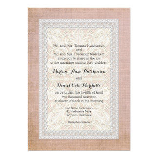 Rustic Lace w Aged Vintage Linen Country Elegance Invitations