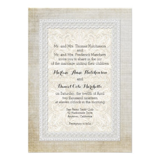 Rustic Lace w Aged Vintage Linen Country Elegance Custom Invite