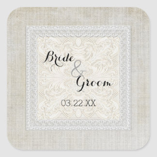 Rustic Lace w Aged Vintage Linen Country Elegance Square Sticker