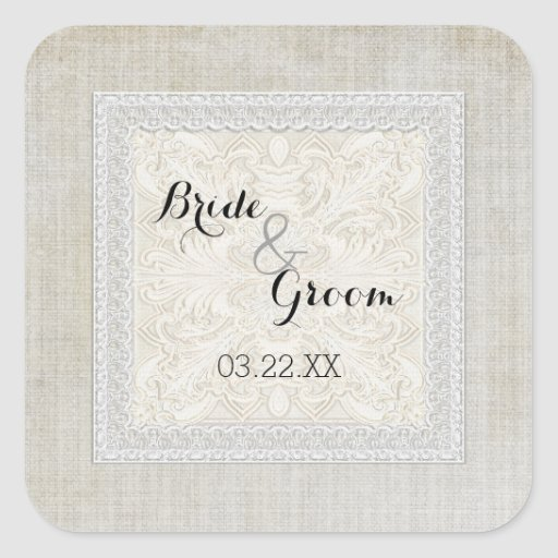 Rustic Lace w Aged Vintage Linen Country Elegance Stickers
