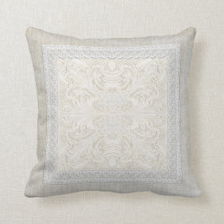 Rustic Lace w Aged Vintage Linen Country Elegance Throw Pillow