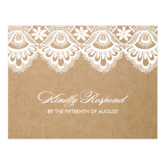 RUSTIC LACE WEDDING RSVP POST CARD