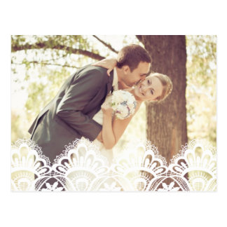 RUSTIC LACE   WEDDING THANK YOU PHOTO POST CARD