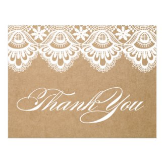 RUSTIC LACE | WEDDING THANK YOU POST CARD