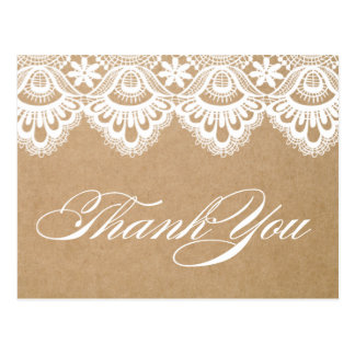 RUSTIC LACE   WEDDING THANK YOU POST CARD