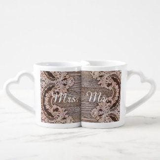 Rustic  lace western country wedding mr and mrs coffee mug set