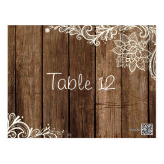 Rustic Lace Wood Country Wedding Table Number Card Postcard