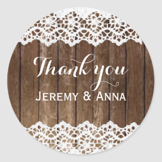 Rustic lace wood thank you wedding sticker