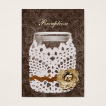 Rustic Lace Wrapped Mason Jar Wedding Business Card