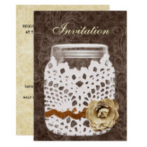 Rustic Lace Wrapped Mason Jar Wedding Card