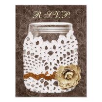 Rustic Lace Wrapped Mason Jar Wedding Card