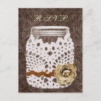 Rustic Lace Wrapped Mason Jar Wedding Invitation Postcard