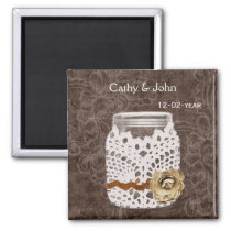 Rustic Lace Wrapped Mason Jar Wedding Magnet