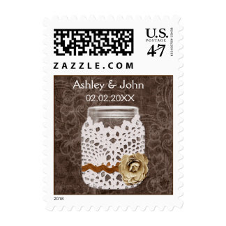 Rustic Lace Wrapped Mason Jar Wedding Postage Stamp