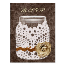Rustic Lace Wrapped Mason Jar Wedding Postcard