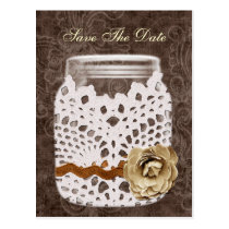 Rustic Lace Wrapped Mason Jar Wedding Postcard