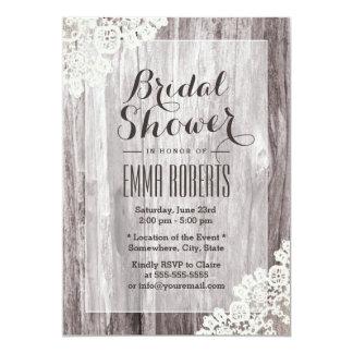 Rustic Laced Barn Wood Bridal Shower Card