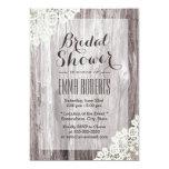 Rustic Laced Barn Wood Bridal Shower 5x7 Paper Invitation Card