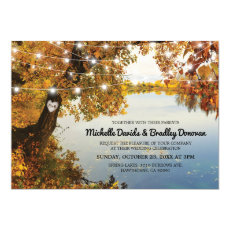 Rustic Lake Fall Tree Wedding Invitation