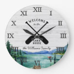Rustic Lake House Themed | Family Name Large Clock