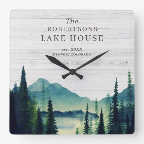Rustic Lake House Themed | Family Name Square Wall Clock