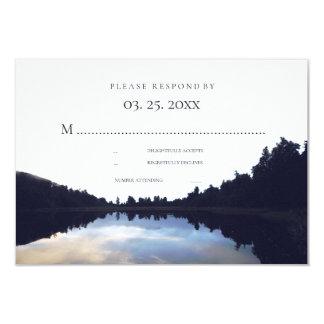 Rustic Lake Reflections Lakeside Wedding RSVP © Card