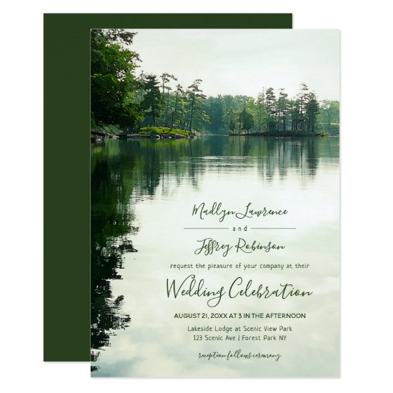 Rustic lakeside evergreens reflection wedding invitation