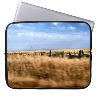 Rustic landscape from a car computer sleeve