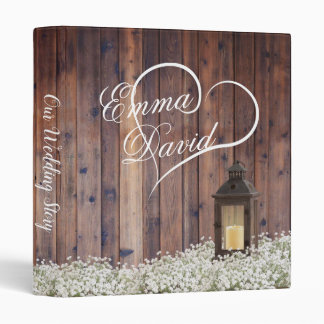 Rustic Lantern Baby's Breath Floral Wedding Album 3 Ring Binder