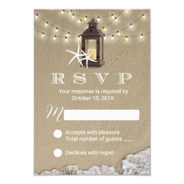 Rustic Lantern Beach Wedding RSVP Response Card