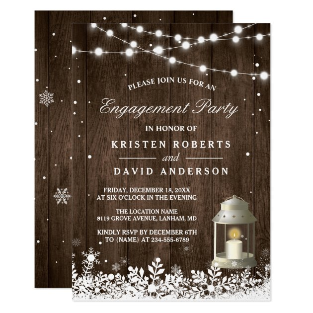 Rustic Lantern Snowflakes Winter Engagement Party Card (front side)