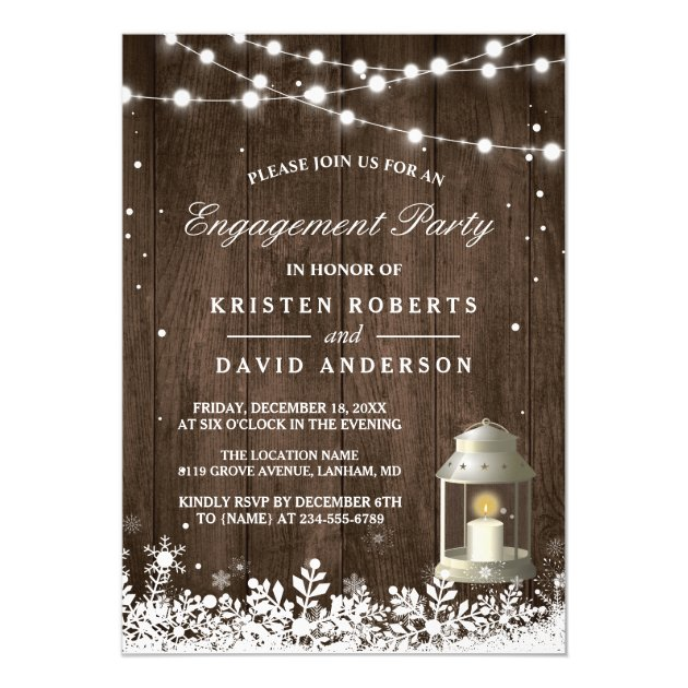 Rustic Lantern Snowflakes Winter Engagement Party Card (back side)
