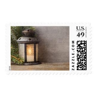 Rustic Lantern Swag Christmas Postage Stamps