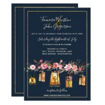 Rustic Lanterns Navy Blue Coral Floral 3 Wedding Card