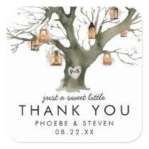 Rustic Lanterns Oak Tree Sweet Wedding Favor Square Sticker